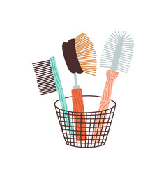 Eco friendly zero waste bristle brush washing vector
