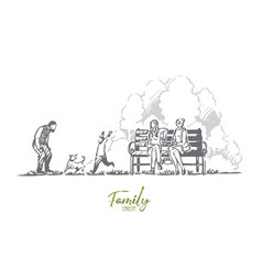 family spring park dog nature concept vector image
