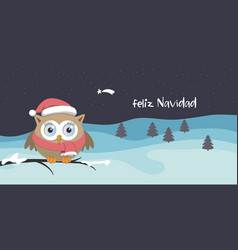 female owl with santa claus hat on a branch in a vector image vector image