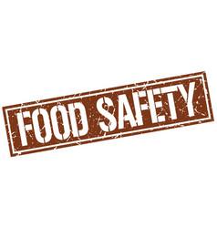 Food safety square grunge stamp vector