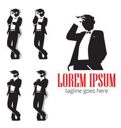 gentleman in silhouette symbol vector image