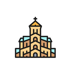 Georgian orthodox church tbilisi flat vector