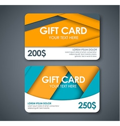 Gift cards in the style of the material design vector