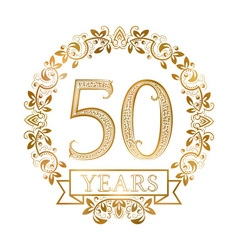 Golden emblem of fiftieth years anniversary in vector