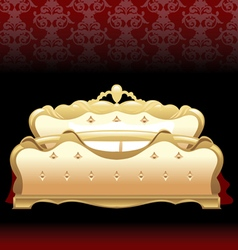 Golden royal bed flat style over red background Di vector
