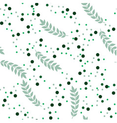 Green leaves and spots seamless pattern vector