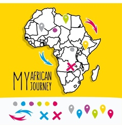 Hand drawn africa travel map with pins vector