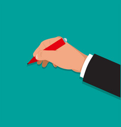 hand holds a pen vector image