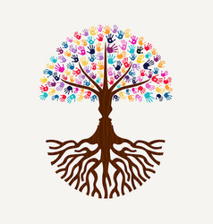 Hand print tree with human face silhouette shape vector