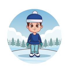 happy boy in winter clothes vector image