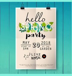 hello spring party poster lettering on wood vector image
