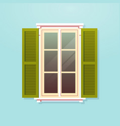 house window with shutters vintage building facade vector image