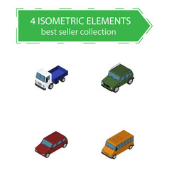 isometric automobile set of autobus armored vector image