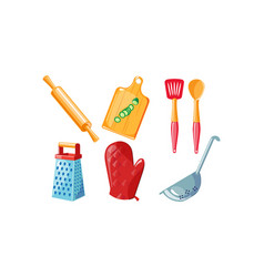 kitchen utensil set rolling pin cutting board vector image