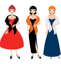 lady in evening gowns vector image