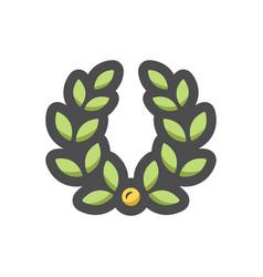 laurel wreath green icon cartoon vector image