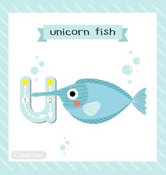 Letter u lowercase tracing unicorn fish vector