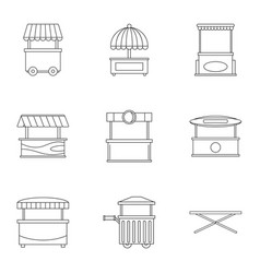 market tent icon set outline style vector image