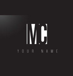 Mc letter logo with black and white negative vector