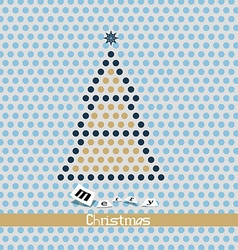 Merry Christmas Card - Dotted Tree vector image