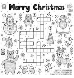 merry christmas crossword game for kids black vector image