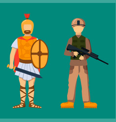 Military soldier character weapon symbols armor vector