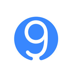 number 9 nine font logo blue icon vector image