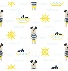 pajamas boy pattern with tilda sailor dog seamless vector image
