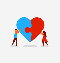 people heart puzzle vector image