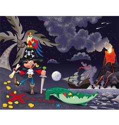 Pirate on the island in the night vector