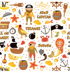 pirates cartoon seamless pattern vector image