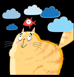 Portrait of a orange fat cat and fish vector