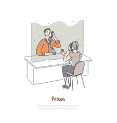 Prison visiting room woman communicating with vector