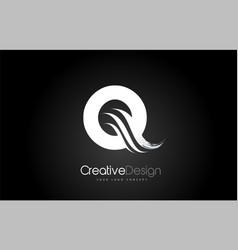 Q letter design brush paint stroke on black vector