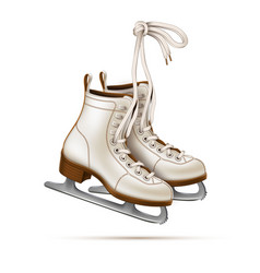 Realistic figure skates vintage ice skates vector