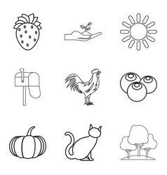 rooster icons set outline style vector image