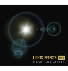 Round and hexadecimal sun light effect with lens vector image