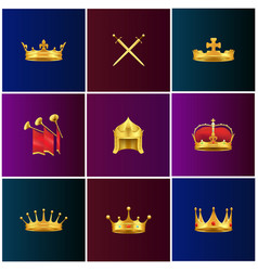 royal gold medieval attributes set vector image