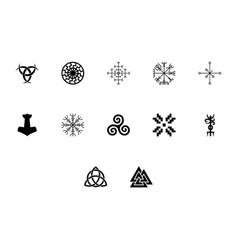 Scandinavian symbols and culture black color set vector