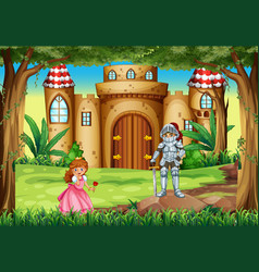 scene with princess and knight vector image