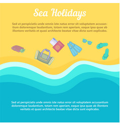 sea rest concept beach items cartoon style vector image