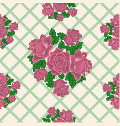 Seamless pattern of pink roses on the background vector