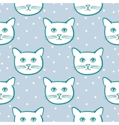 Seamless pattern with cute cats animal and snow vector