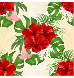 seamless texture bouquet with tropical flowers vector image