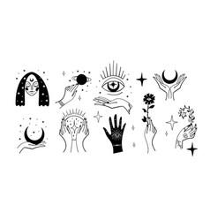 Set black magic stickers boho design elements vector