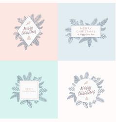 set christmas foliage cards signs or logo vector image