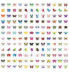 set colored icons butterfly vector image