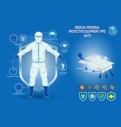 Set medical personal protective equipment vector