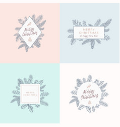 set of christmas foliage cards signs or logo vector image
