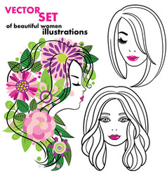 Set of elegant line art silhouettes of vector